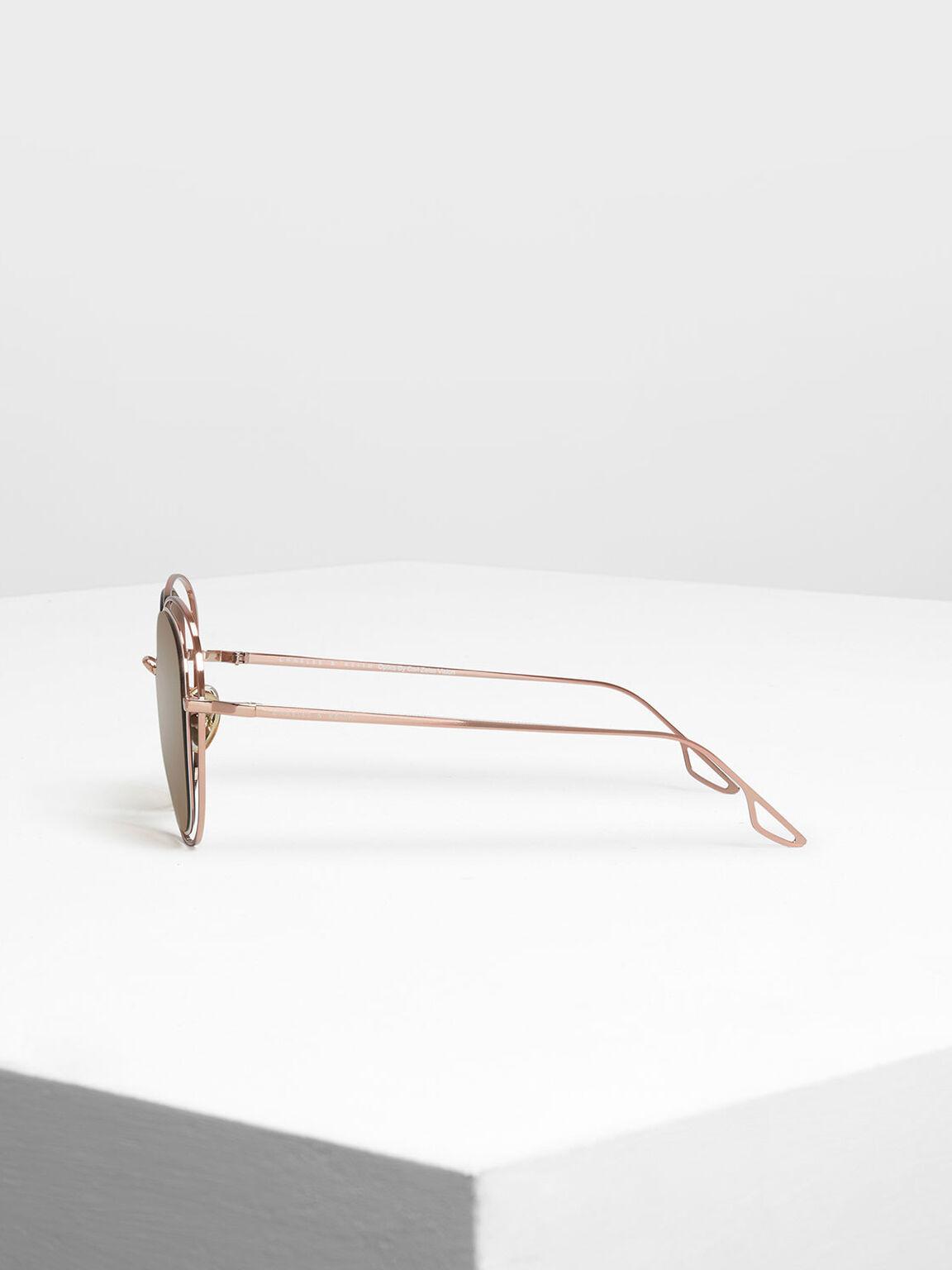 金屬雙框墨鏡, 玫瑰金, hi-res