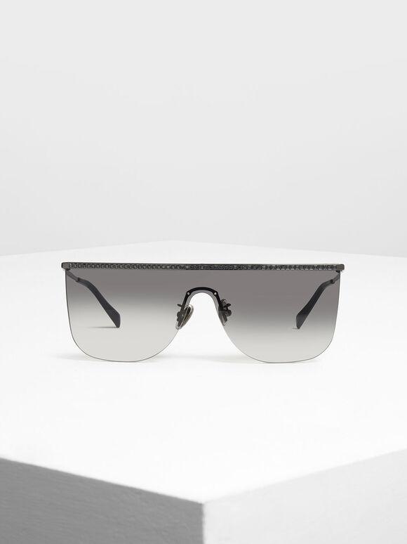 Crystal Embellished Sunglasses, Black, hi-res