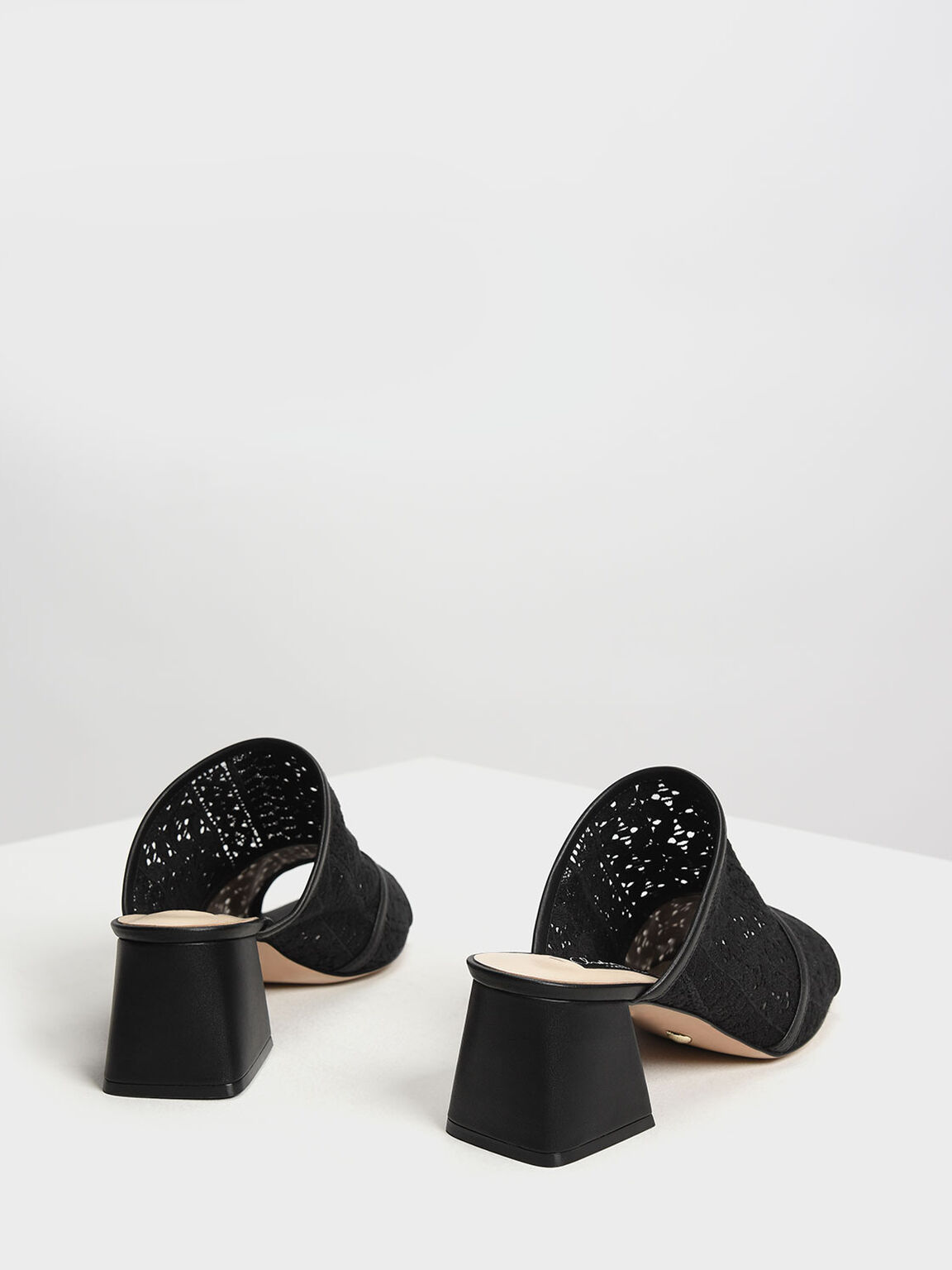 Crochet Block Heel Slide Sandals, Black, hi-res