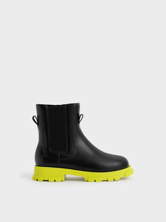 兒童厚底切爾西靴, 黑色, hi-res