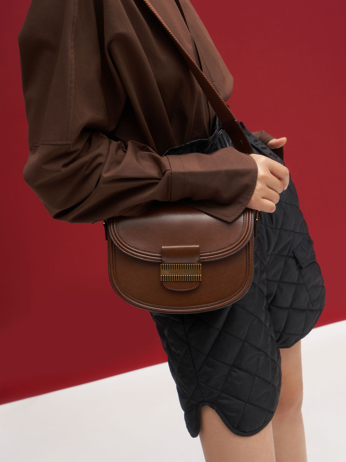 Embellished Saddle Bag, Cognac, hi-res