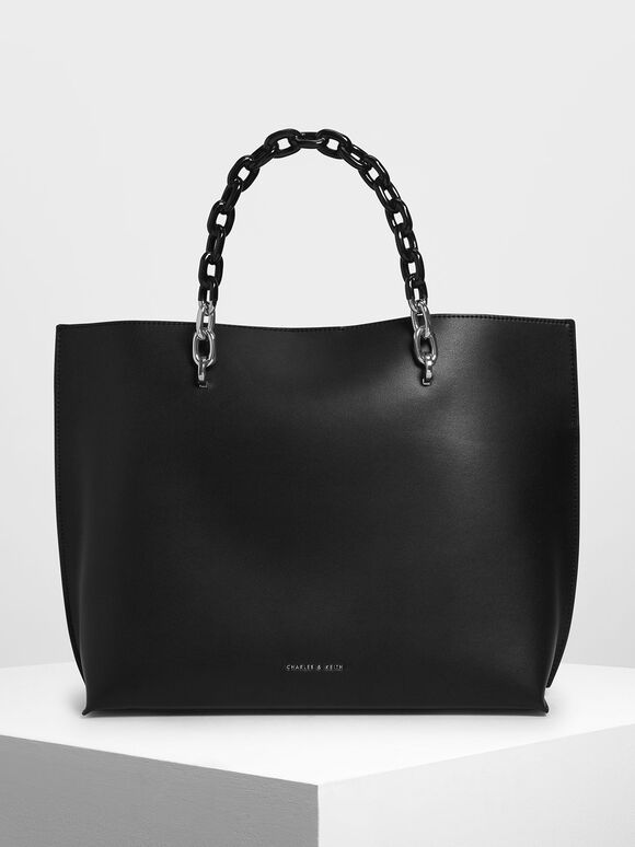 Double Chain Handle Tote Bag, Black, hi-res