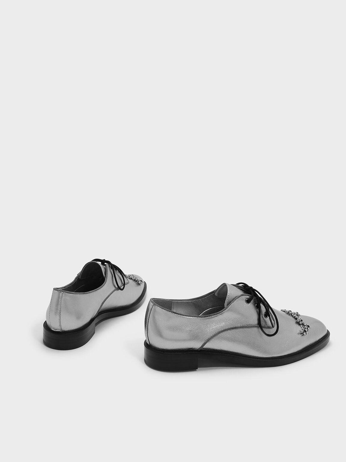 Embellished Leather Derby Shoes, Pewter, hi-res
