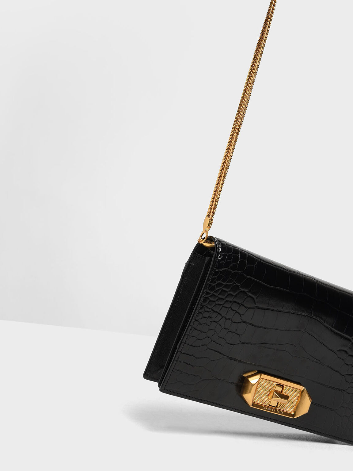 Croc-Effect Turn-lock Wallet, Black Textured, hi-res