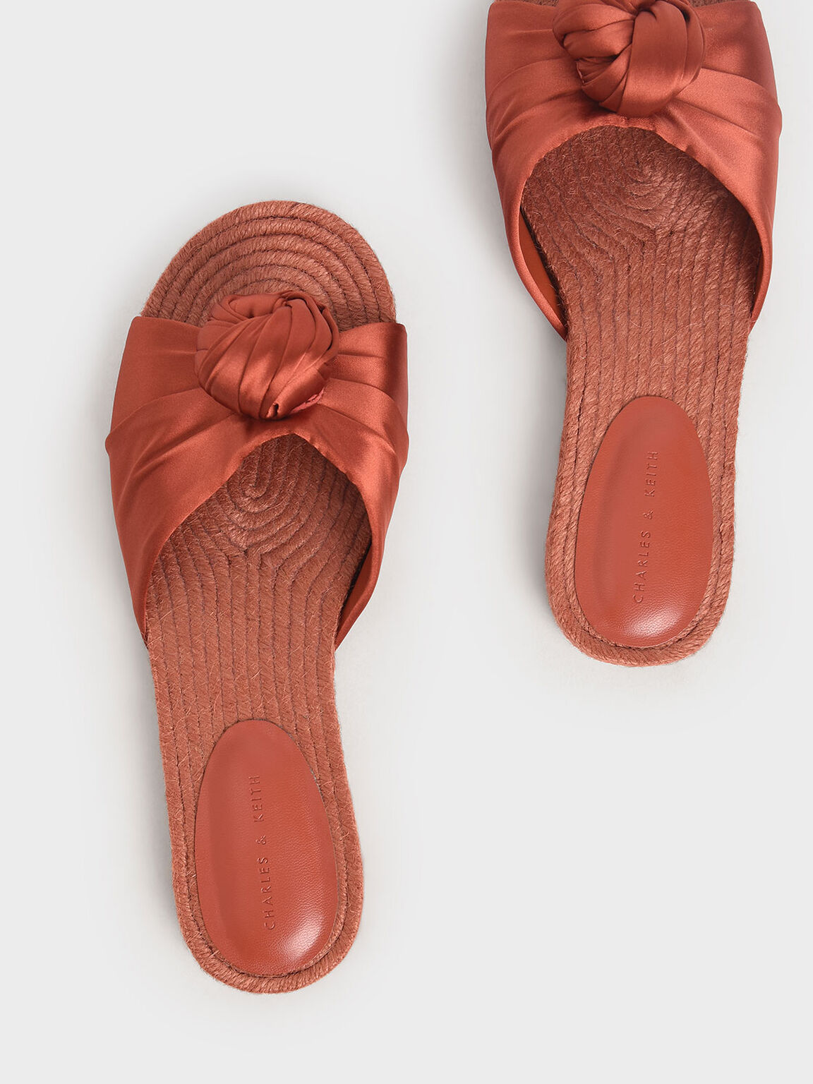 Satin Knot Espadrille Slide Sandals, Orange, hi-res