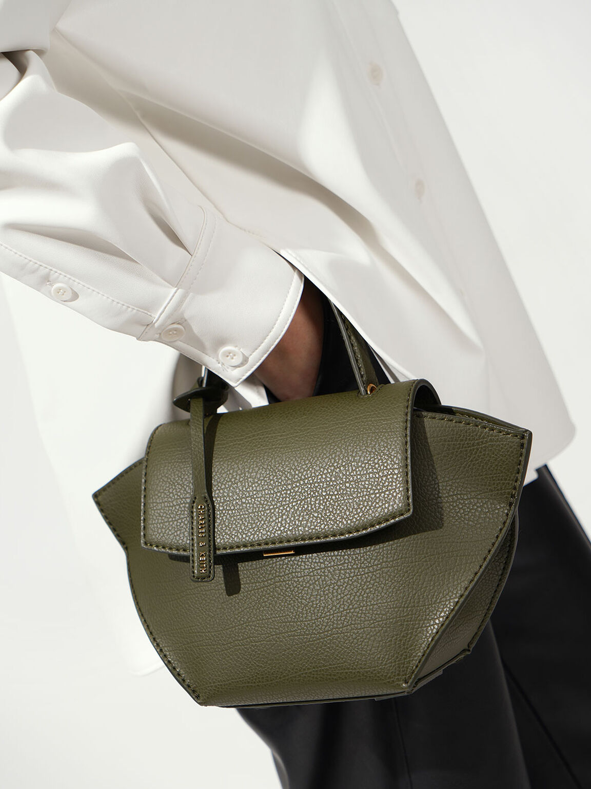 Trapeze Top Handle Bag, Olive, hi-res