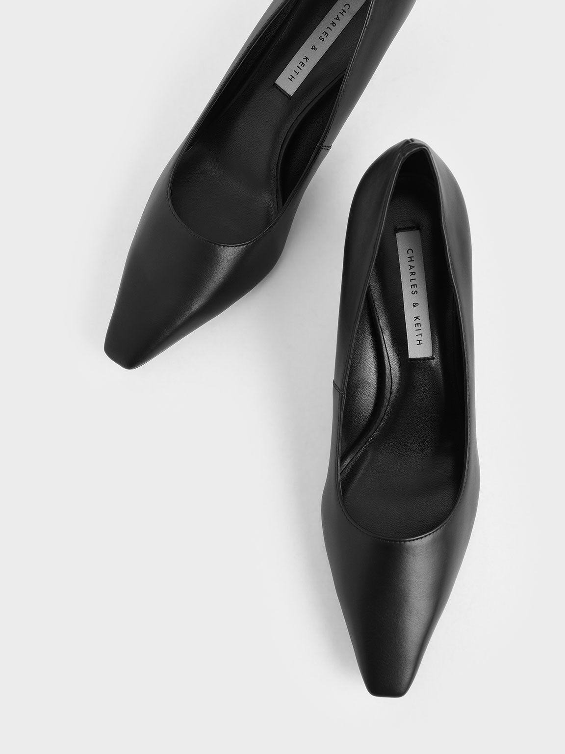 素面低跟鞋, 黑色, hi-res