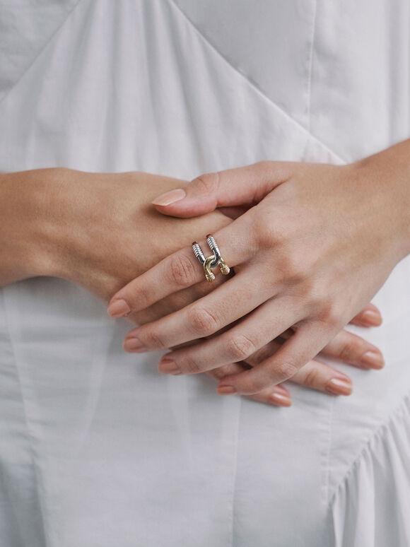 金屬雙環戒指, 混色, hi-res