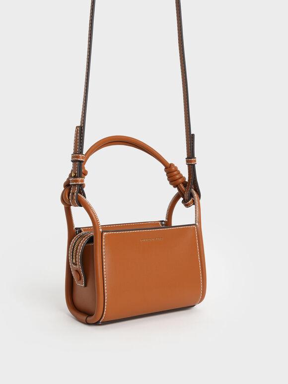 Knotted Handle Boxy Bag, Cognac, hi-res