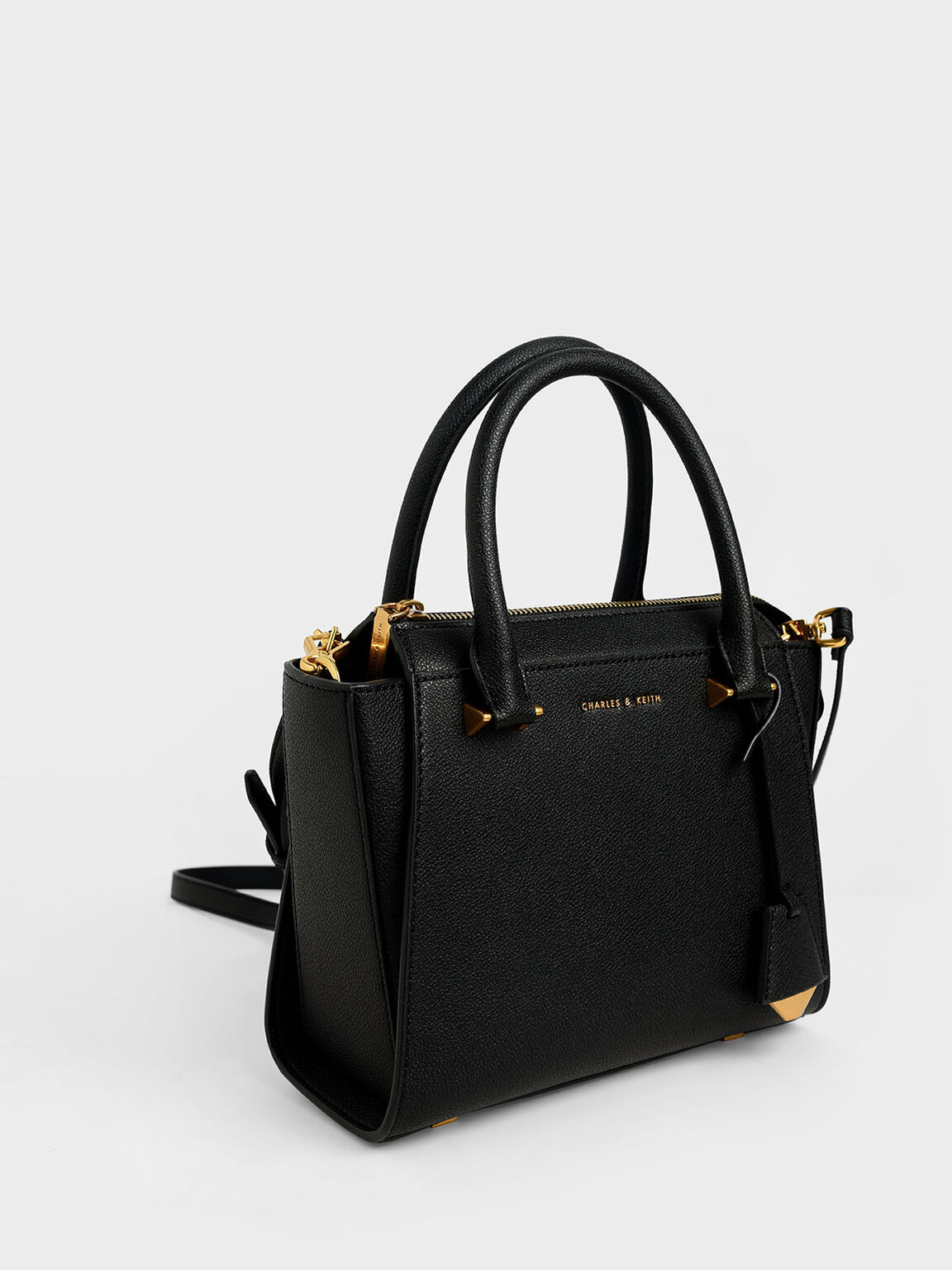 Structured Trapeze Bag, Black, hi-res