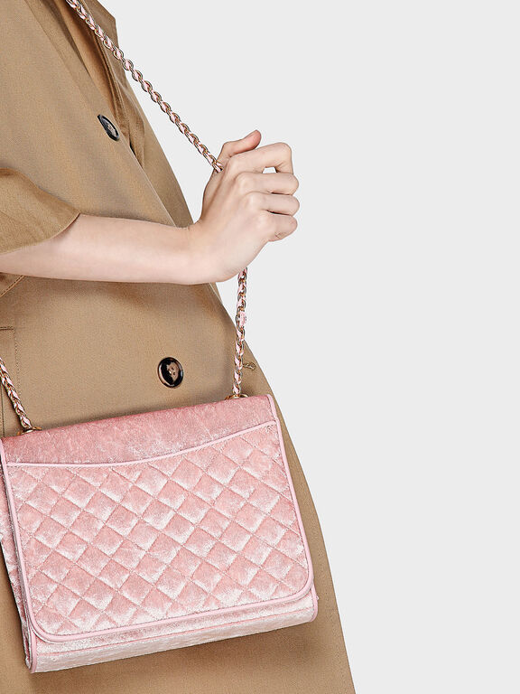 Quilted Sling Bag, Pink