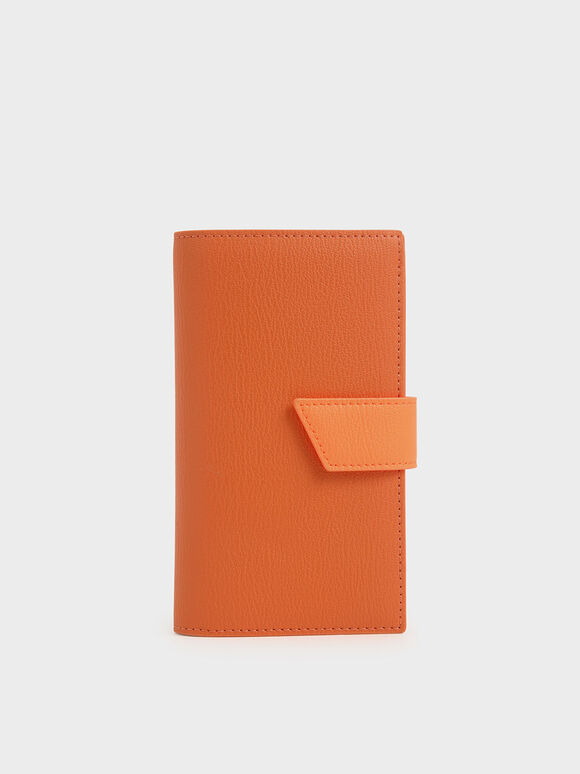 Snap Button Wallet, Orange, hi-res