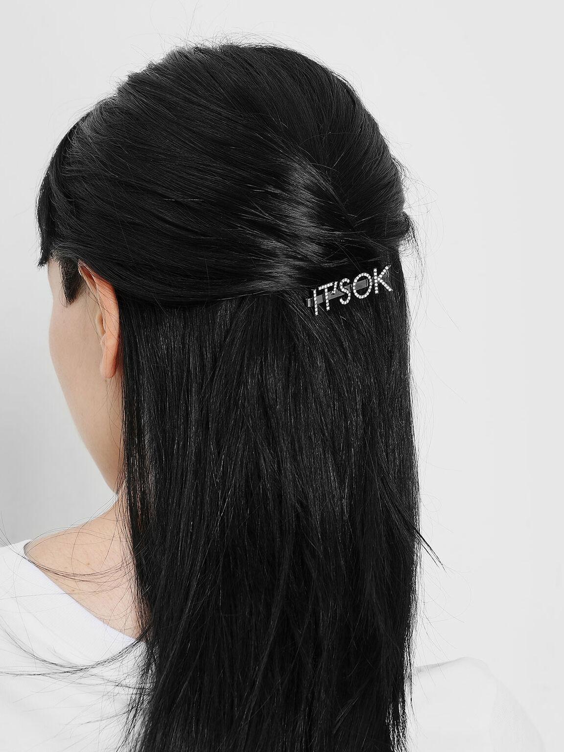 """IT'S OK"" Hair Clip, Black, hi-res"