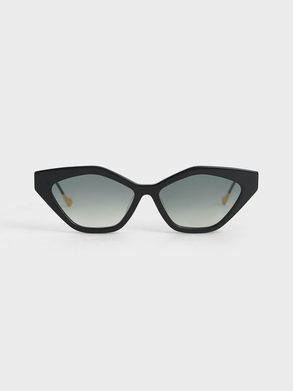 Cat-Eye Acetate Sunglasses, Black, hi-res