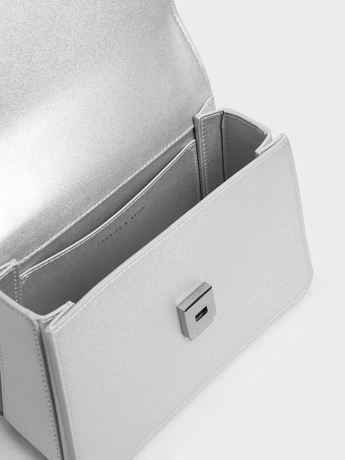 Chain Link Front Flap Bag, Silver, hi-res