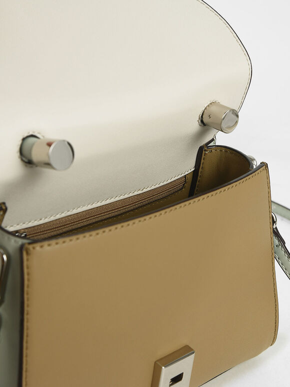 Two-Tone Structured Top Handle Bag, Multi, hi-res