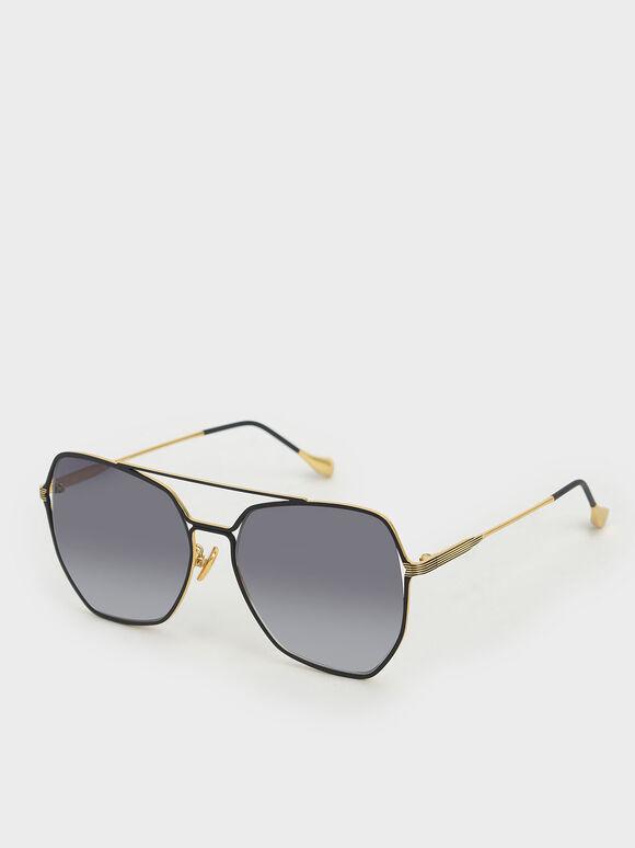 Gradient Tint Geometric Sunglasses, Black, hi-res