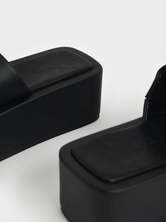 Square Toe Flatforms, Black, hi-res