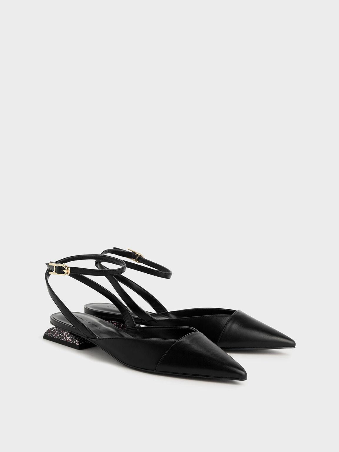 Terrazzo Print Sculptural Heel Covered Sandals, Black, hi-res