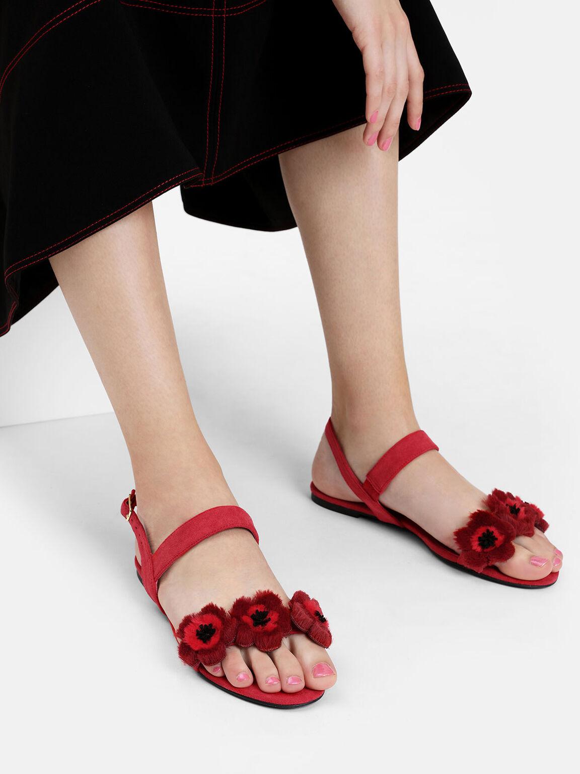 絨毛花朵涼鞋, 紅色, hi-res