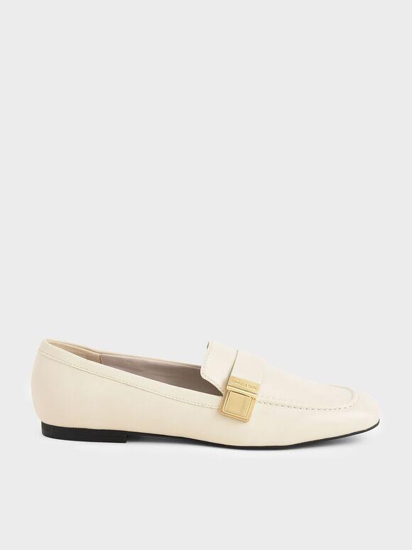 金屬方扣樂福鞋, 石灰白, hi-res