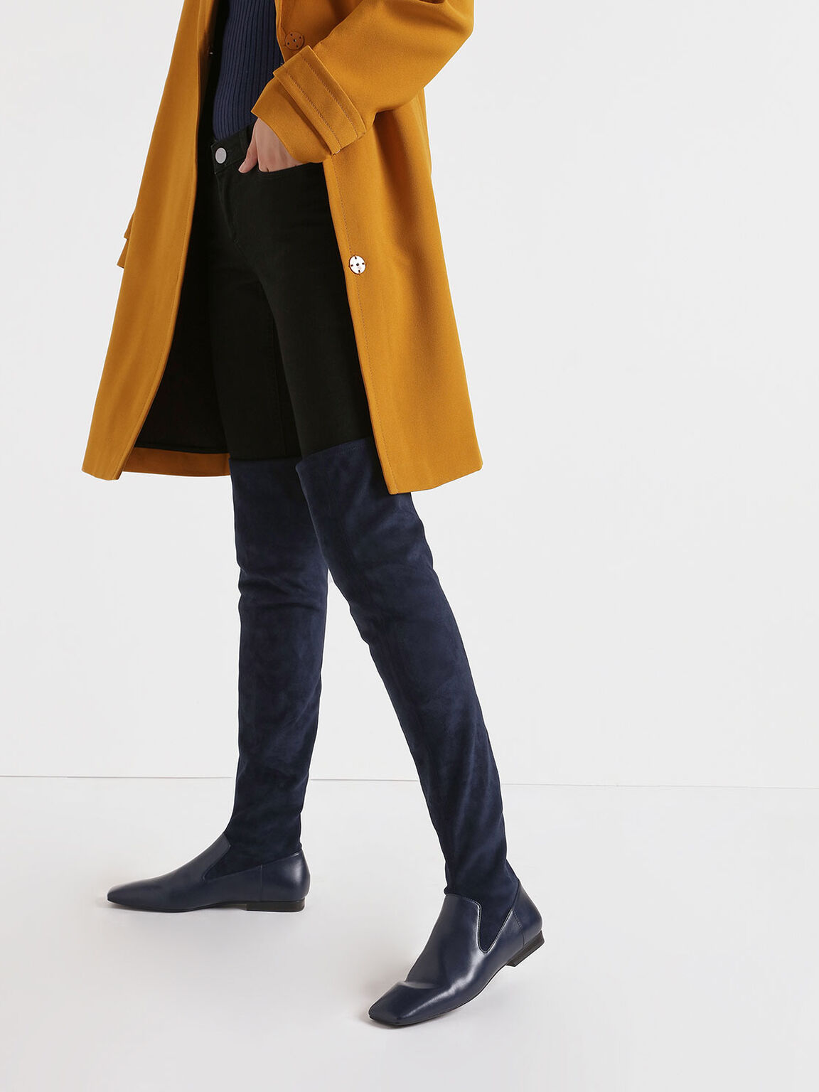 Thigh High Flat Sock Boots, Dark Blue, hi-res