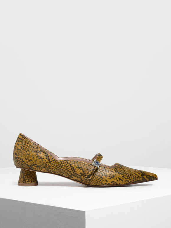 Snake Print Gem Embellished Cylindrical Heel Mary Jane Pumps, Yellow, hi-res