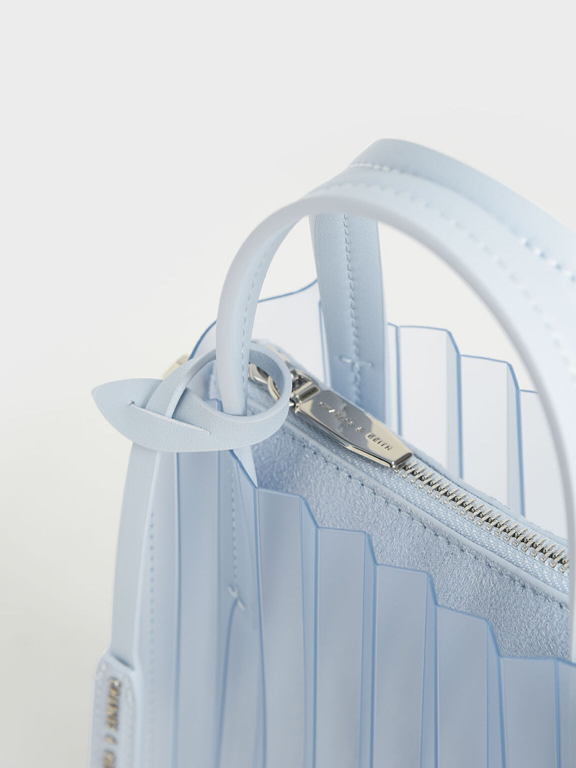 Translucent Pleated Tote Bag, Light Blue, hi-res