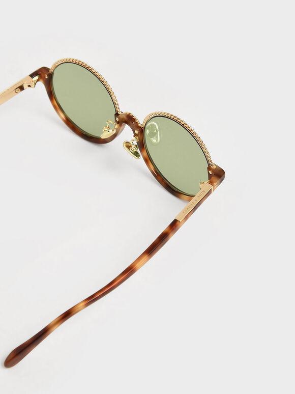 Tortoiseshell Half Frame Embellished Round Sunglasses, T. Shell, hi-res