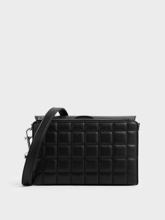 Removable Quilted Pouch Boxy Shoulder Bag, Black, hi-res