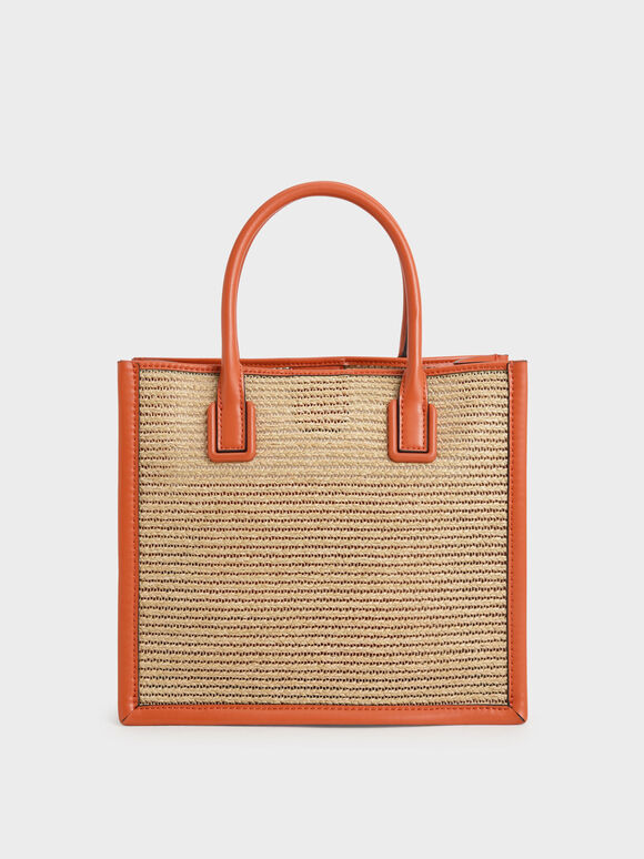 Raffia Double Handle Tote Bag, Orange, hi-res