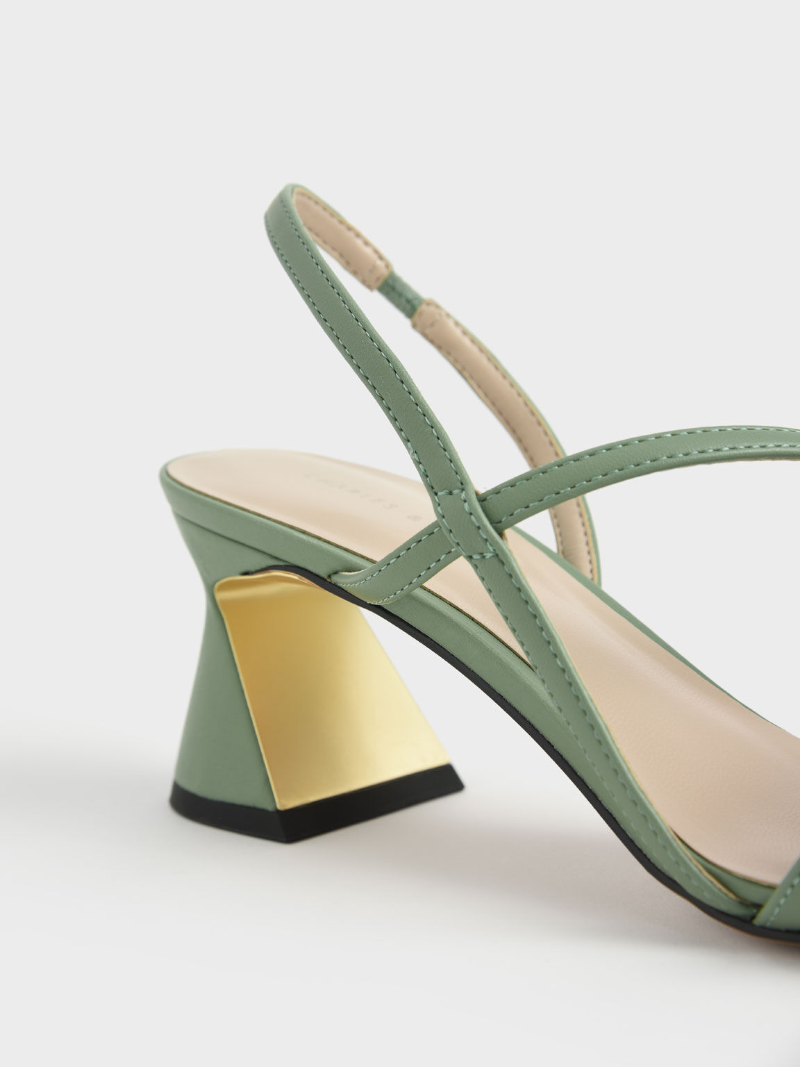 Asymmetric Strap Geometric Heel Pumps, Green, hi-res