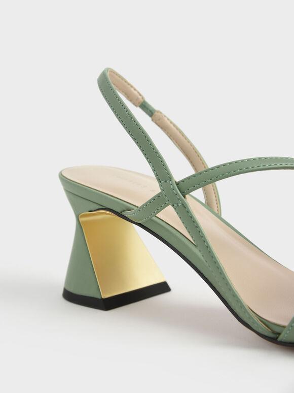 Asymmetric Strap Geometric Heel Pumps, Green, hi-res