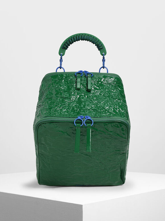 Rope Handle Wrinkled Effect Patent Backpack, Green, hi-res