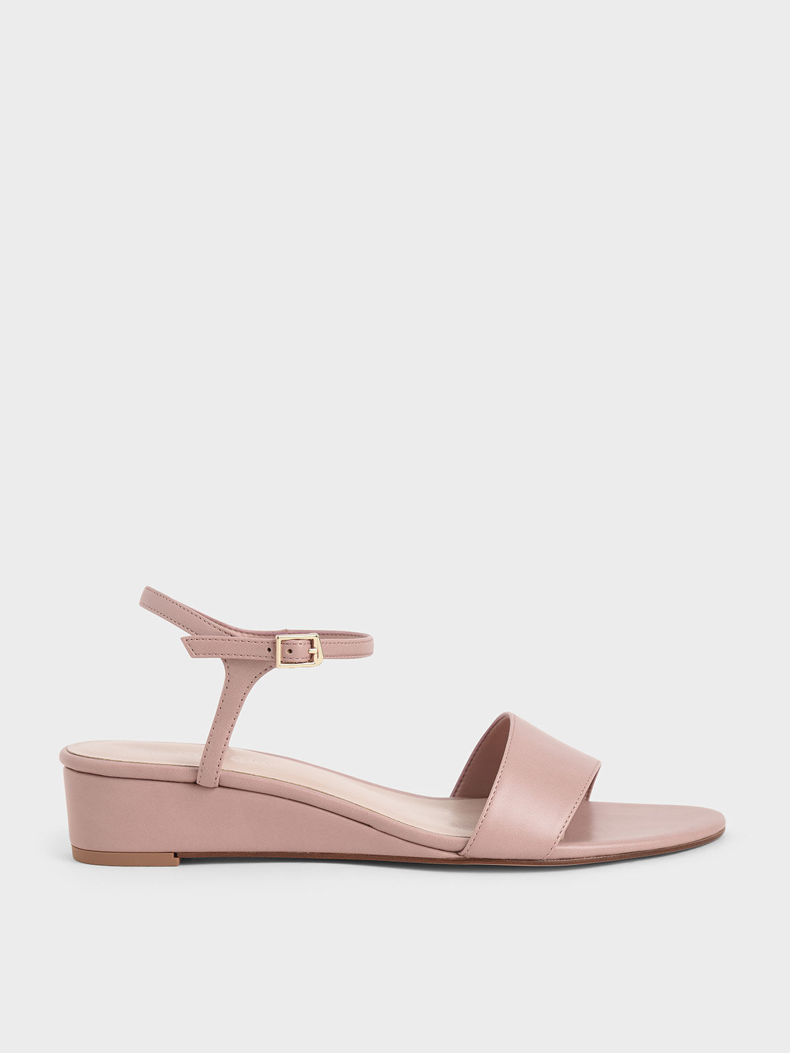 Asymmetric Wedge Sandals, Pink, hi-res