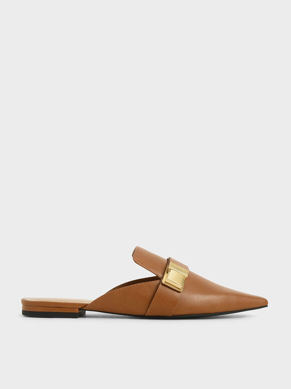 Buckle Loafer Mules, Cognac, hi-res