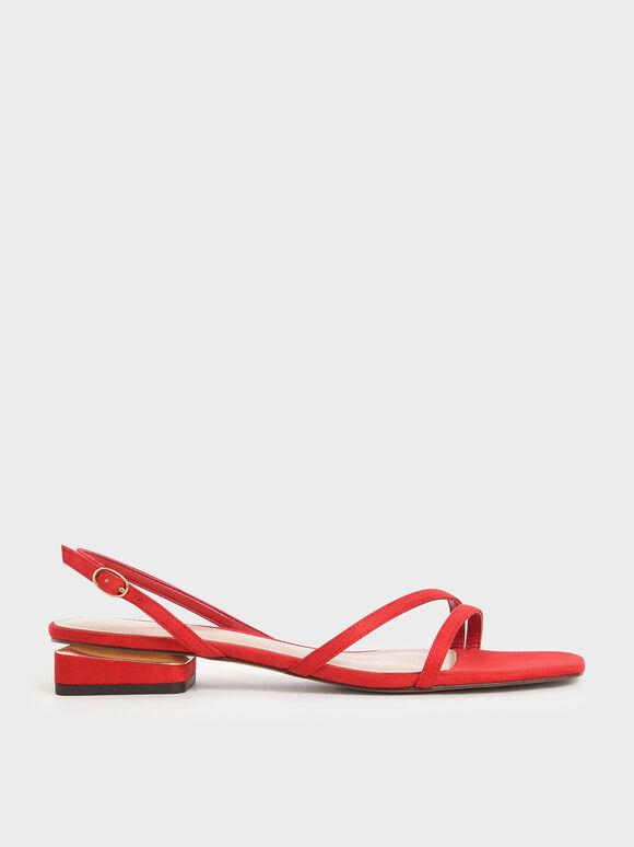 線條方頭涼鞋, 紅色, hi-res