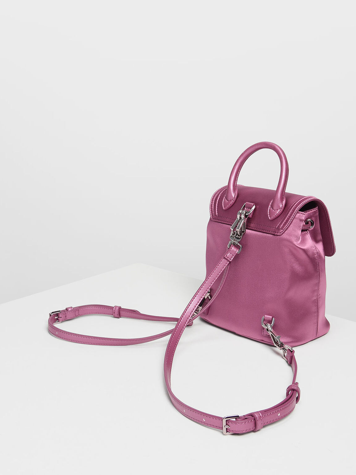 Crushed Gem Effect Buckle Detail Backpack, Pink, hi-res