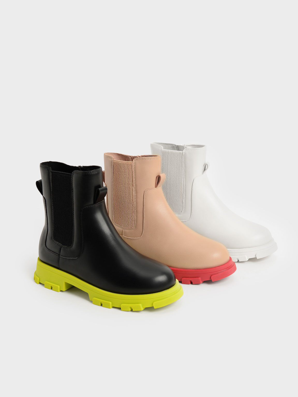 Girls' Chunky Coloured Sole Chelsea Boots, Black, hi-res