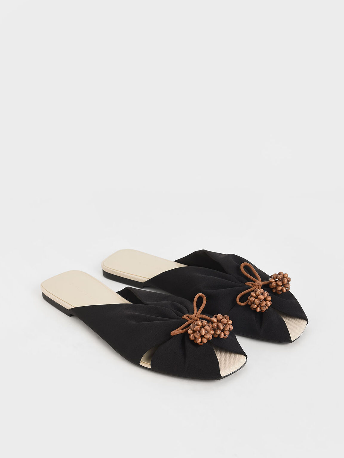 Cherry Embellished Peep-Toe Slide Sandals, Black, hi-res