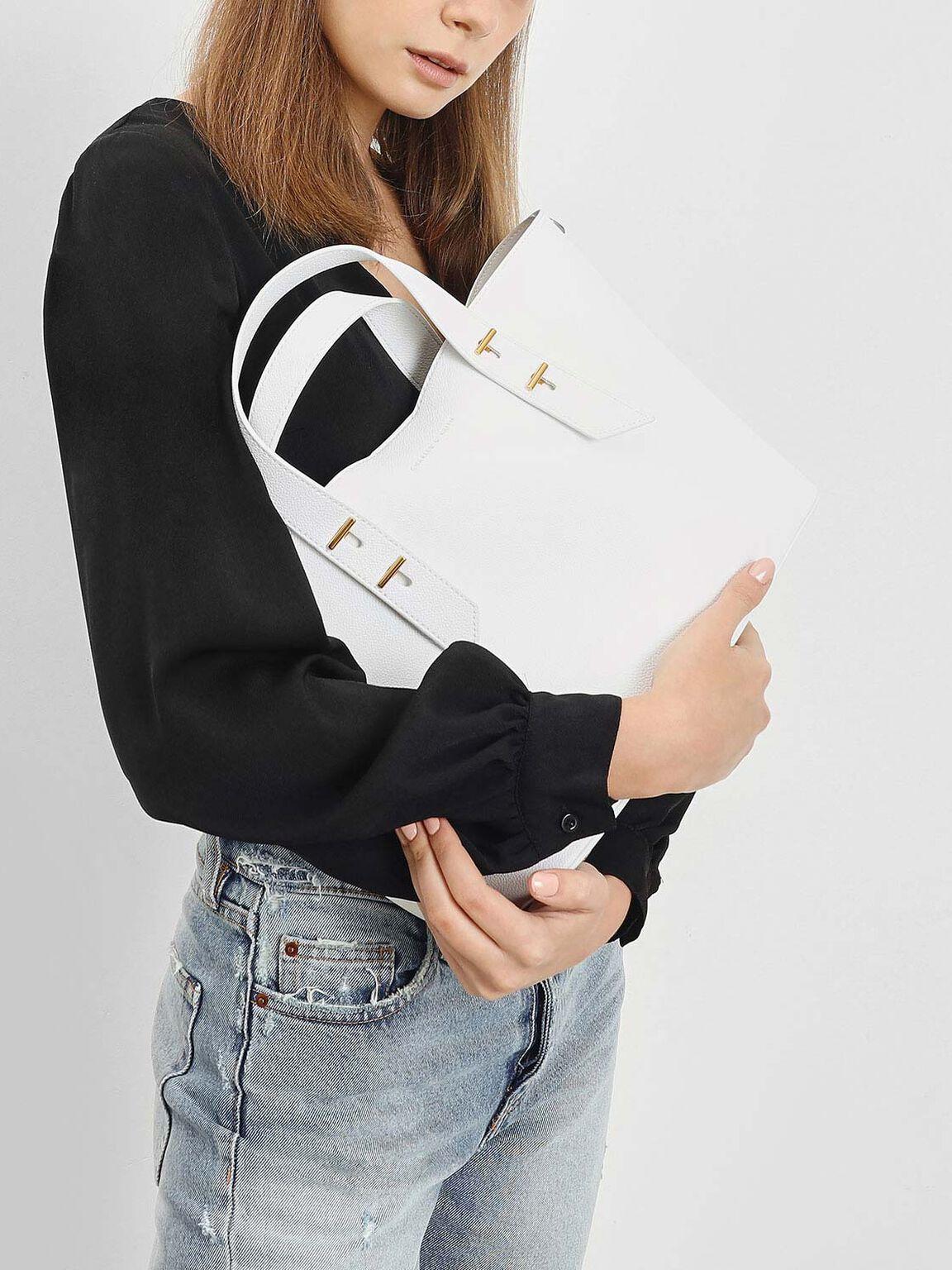 Metal Stud Detail Top Handle Bag, White, hi-res