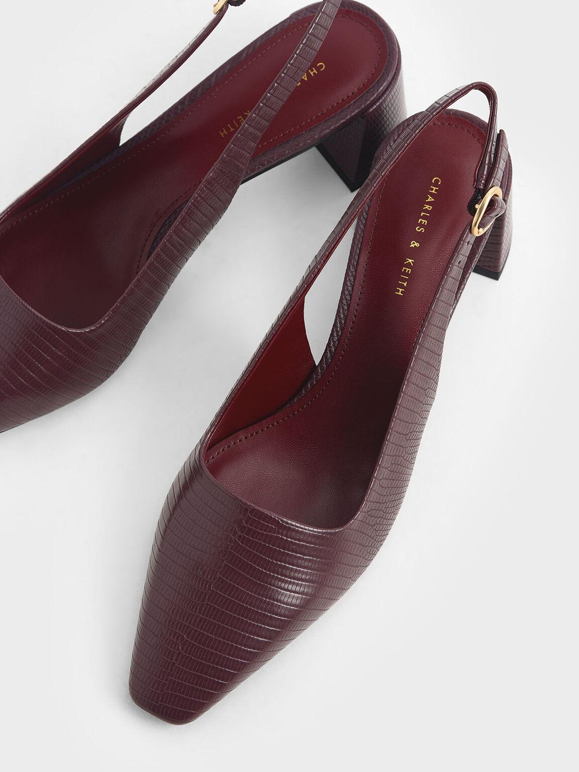 蛇紋微方頭跟鞋, 紅色動物紋, hi-res