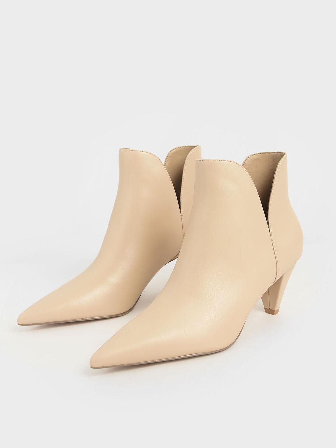 Cone Heel Ankle Boots, Beige, hi-res