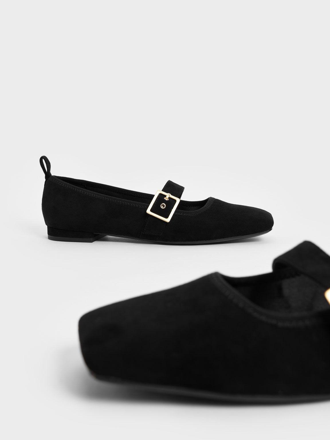 Textured Square Toe Mary Jane Flats, Black, hi-res