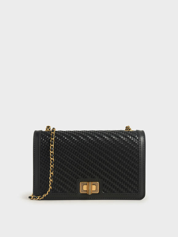 Woven Turn-Lock Clutch, Black, hi-res