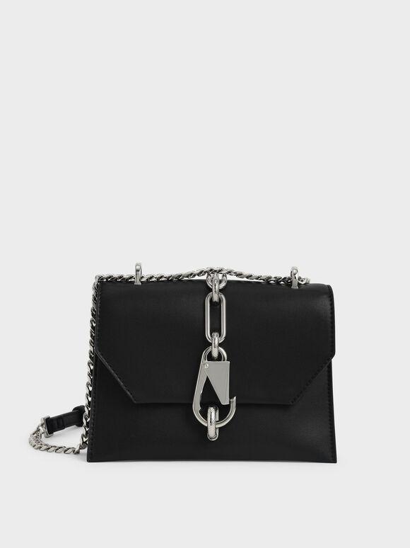Metallic Accent Turn-Lock Crossbody Bag, Black, hi-res