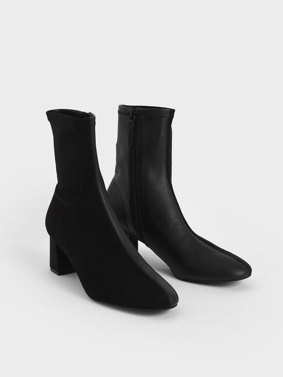 拼接粗跟短靴, 黑色, hi-res