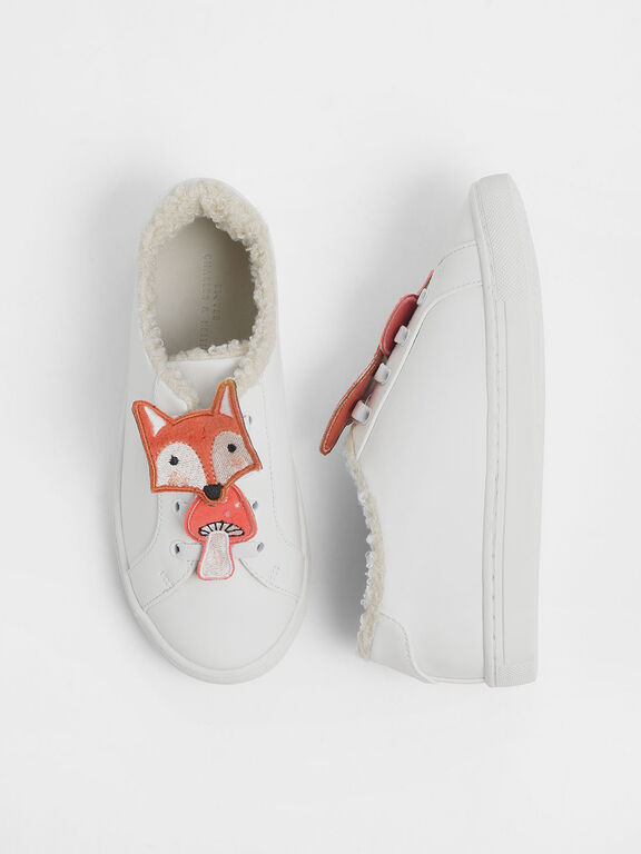 Girls' Fox Character Sneakers, White
