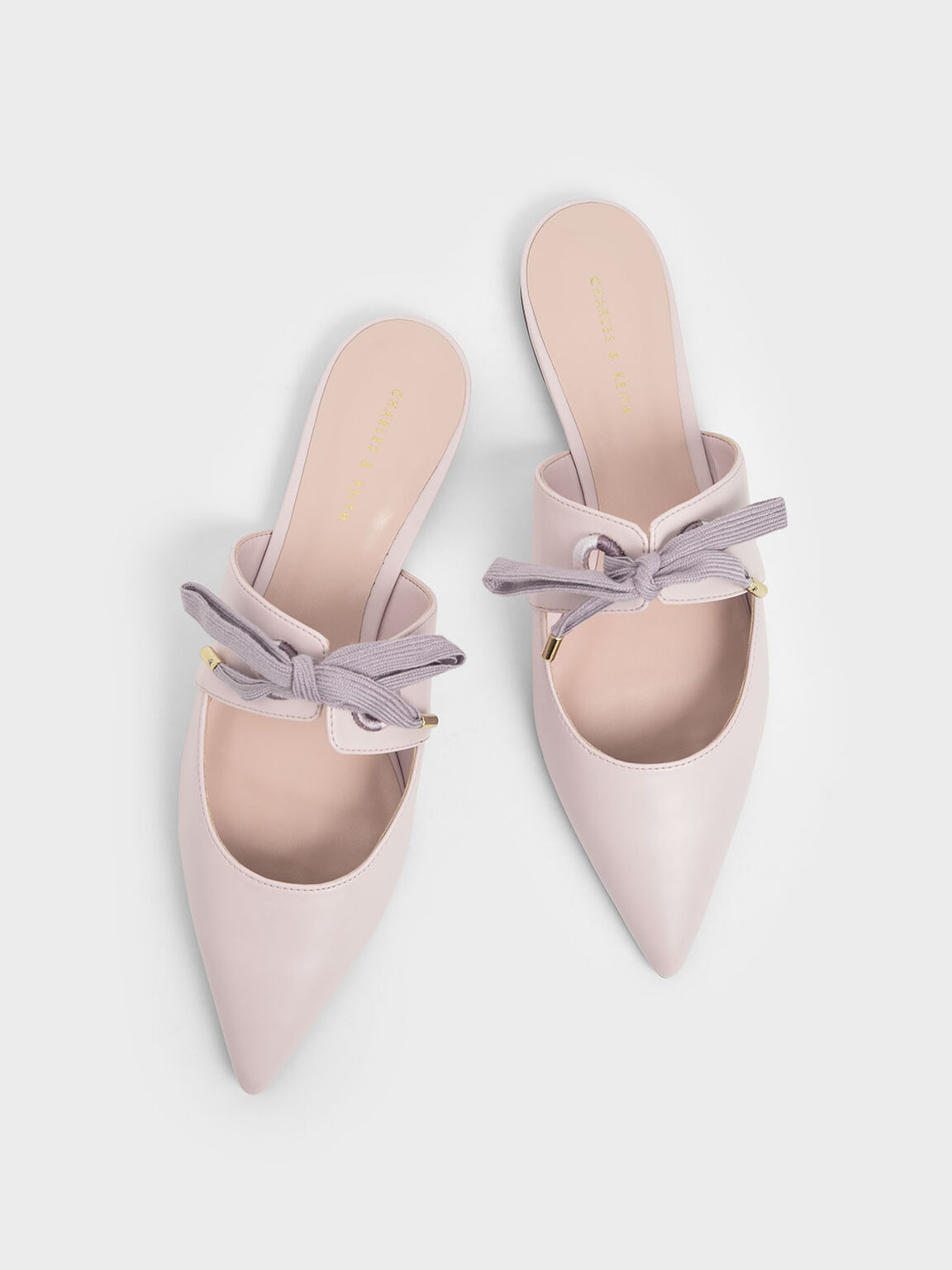 Bow Strap Pointed Toe Mules, Lilac, hi-res