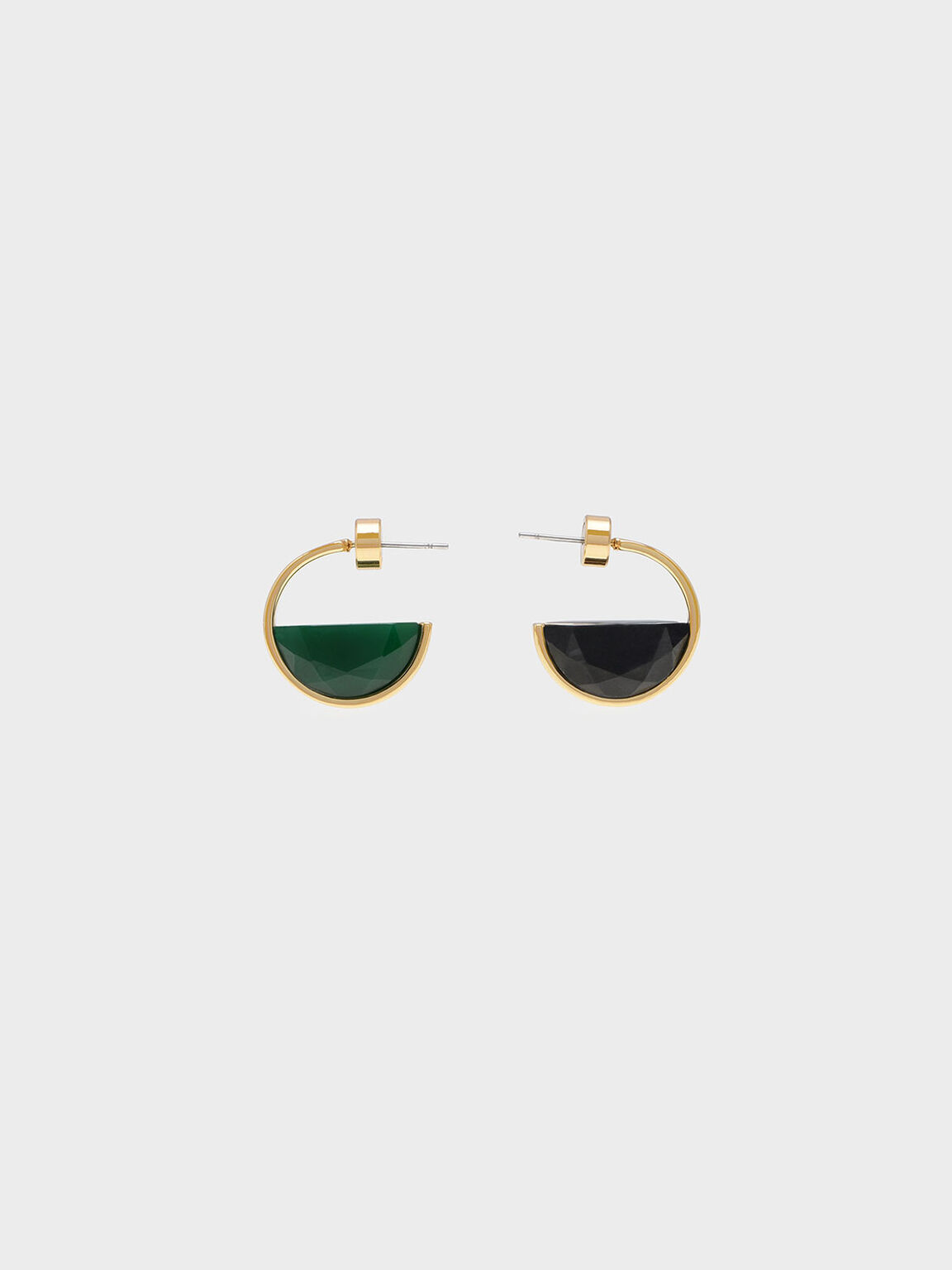 Black Marble Hoop Earrings, Green, hi-res